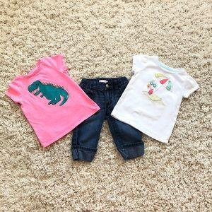 2 T-shirts and Jean Capri bundle size 3T